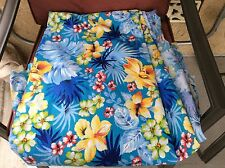 Hawaiian tropical flowers hibiscus leaves blue poly cotton fabric, 59