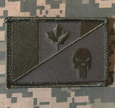 CANADA FLAG PUNISHER SKULL TACTICAL MILITARY ACU VELCRO® BRAND FASTENER PATCH