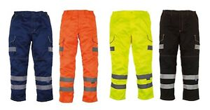 Yoko Hi-Vis Polycotton Soft Touch Cargo Work Trousers with Knee Pad Pockets Pant