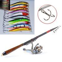 10Pcs Kinds of Fishing Lures Crankbaits+Carbon Fiber Telescopic Fishing Rod Pole