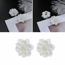 Women Girl Inlay Beads Camellia Simulated Pearl Stud Earrings Big White Flower