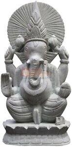 "12"" Handmade off White Gorara Ganesha Sculpture Collectible Thanksgiving Gift"