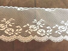 White Flower Wide Lace 4 1/4 inches    1 yard