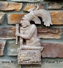 "History Aztec Maya King Pakal Sculpture Statue Wall plaque 17"""