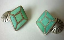 MUSEUM QUALITY Old Zuni CHANNEL INLAY Royston TURQUOISE STERLING SILVER Cufflink