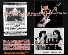 JOHNNY WINTER, HOBBS, HUGHES 1973 -8 x 10 PIECE ORIG TICKET STILL ALIVE & WELL