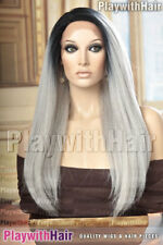 VOLUME!! Long Full Lace Front Wig Heat Safe Grey Gray with Black Roots