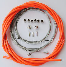 Bicycle 5mm LINED freestyle ACS rotor brake cable kit old school BMX NEON ORANGE
