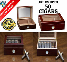 Cigar Humidor Box Hygrometer Humidifier Wood Case Glass Top Cherry Spanish Cedar