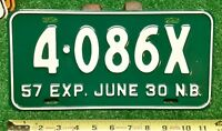 NEW BRUNSWICK - 1957 Quarterly Commercial license plate- excellent orig, tough!