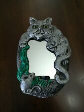 Vintage Cat and Mouse Mirror signed George Mahana Artist Collectible