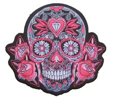 """9.5"""" énorme grand Neon Pink Tribal Sugar Grim Reaper motorcycle Ecusson patch"""