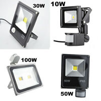 LED Flood Light 10W/30W/50W/100W PIR Motion Sensor Security Spot Garden Building