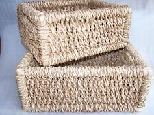 large retangular twisted rush wicker willow storage log basket with handles new