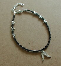 Black Glass Beads Dragonfly Angel Wings Anklet Ankle Bracelet
