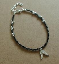 Perline Vetro Nero Dragonfly Ali D'Angelo Cavigliera braccialetto alla caviglia