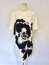 HOBBS BLACK & WHITE FLORAL PRINT SHIFT DRESS SIZE 16