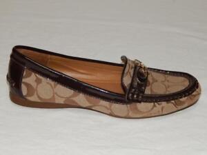 "COACH Women's ""Fortunata"" Beige Signature Jacquard Driving Loafers Size 8 B"