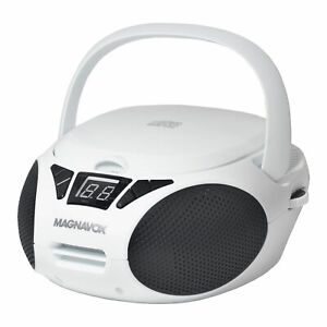 Magnavox MD6924-WH Portable Top Loading CD Boombox with AM/FM Radio, White/Black