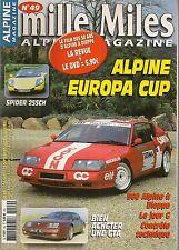 MILLE MILES 49 DOSSIER ALPINE GTA ALPINE EUROPA CUP RENAULT SPORT SPIDER 255CH