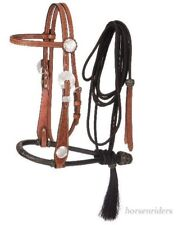 Headstall-Bosal - Mecate Rein - Floral Leather - 5/8 Inch Bosal - Medium Oil