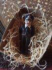 "New 3D Dresden Paper Mini Female Cop Policeman Ornament Black Uniform Gun 3"""