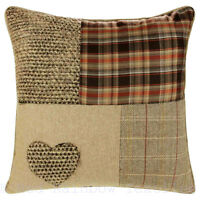 Patchwork Tartan Heart 18 inch Brown, Latte & Orange Cushion Cover Tweed / Wool