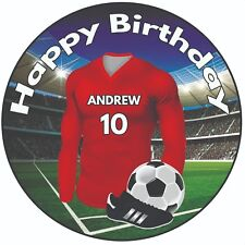 "Personalised Birthday Football Shirt 8"" Round Icing Cake Topper Party Red Kit"