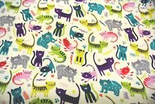 Cats Kittens Flannel Fabric 100% Cotton 3 1/2 Yards