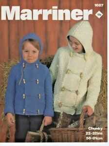 "BOYS GIRLS CHUNKY DUFFLE JACKET 22-32"" ORIGINAL KNITTING PATTERN MARRINER 1687"