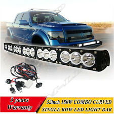 """33"""" 180W Dual Color Curved LED Light Bar Single Row For Offroad SUV 4x4 fog Lamp"""