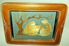 Vtg Bangladesh Mirpur Wheat Straw Mary Joseph Baby Jesus Picture Art Deco Frame