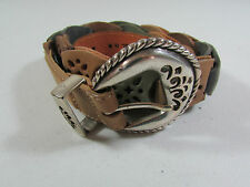 Vintage 90's Cowgirl Brighton Silver Metal Buckle & Leather Belt Size 38