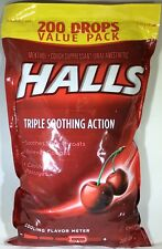 Halls Cough Suppressant Oral Anesthetic Menthol Drops Cherry 200 Count