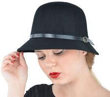 Cute Retrò Margie FLET 50s Hatband Feltro Cappello-Nero Rockabilly