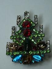 Christbaum Strass Brosche Weihnachtsbaum Christmas tree Brooch Gablonz Nr.58