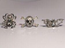 Set of 3 Goth Gothic Halloween Stretch Rings Spider Skull & Crossbones Bat