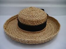 HELEN KAMINSKI natural braided raffia sun hat with black ribbon band