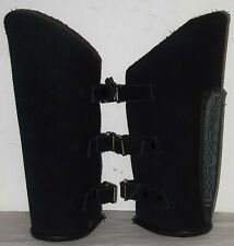 Squires Leather Bracers-Black three buckle with sheath Armour Larp Renaissance