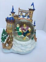 Disney Beauty and the Beast Ice skating snowglobe-Rare