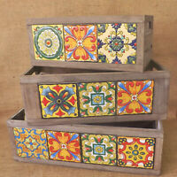 Mediterranean Rustic Vintage Style Wooden Ceramic Tile Display Storage Box Crate