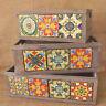 Mediterranean Rustic Vintage Style Wooden Ceramic Tile Display Storage Box Crate