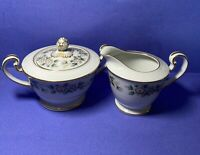 Noritake China Laurette # 5047 Creamer And Sugar Bowl with Lid