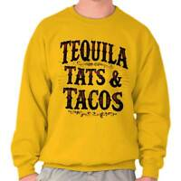 Tequila Tattoos Tacos Mexican Foodie Gift Crewneck Sweat Shirts Sweatshirts