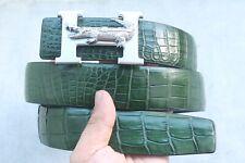 "No Jointed - Green Genuine Alligator CROCODILE Leather SKIN MEN'S Belt - W 1.5 """