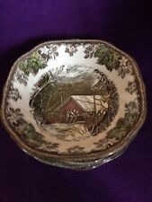 "JOHNSON BROTHERS ""THE FRIENDLY VILLAGE~COVERED BRIDGE""  CEREAL BOWLS~6 1/8"" WIDE"