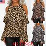 Women Cold Shoulder Ruffle Tops Leopard Print Long Sleeve Sexy Blouse T Shirt US