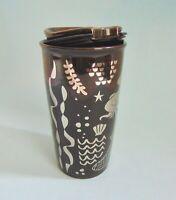 Starbucks Ceramic Travel Mug Cup Coffee Siren Mermaid 2017 Brown Silver NWT