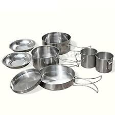 9 Pcs Stainless Steel Camping Cookware Cooking Picnic Bowl Pot Pan Set Outdoor