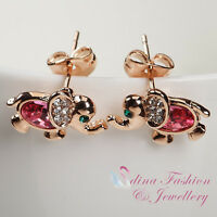 18K Rose Gold GP Made With Swarovski Crystal Lovely Pink Elephant Stud Earrings
